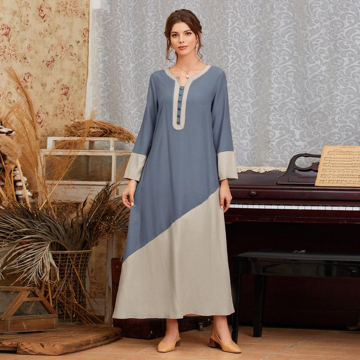 Однобортный контрастный цвет скромный арабская одежда