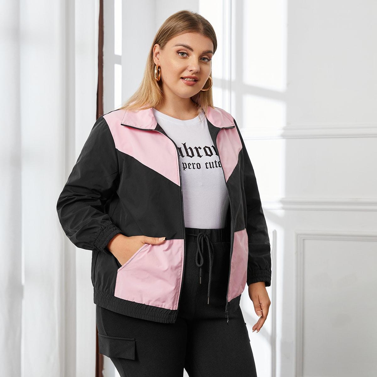 Контрастная куртка размера плюс на молнии