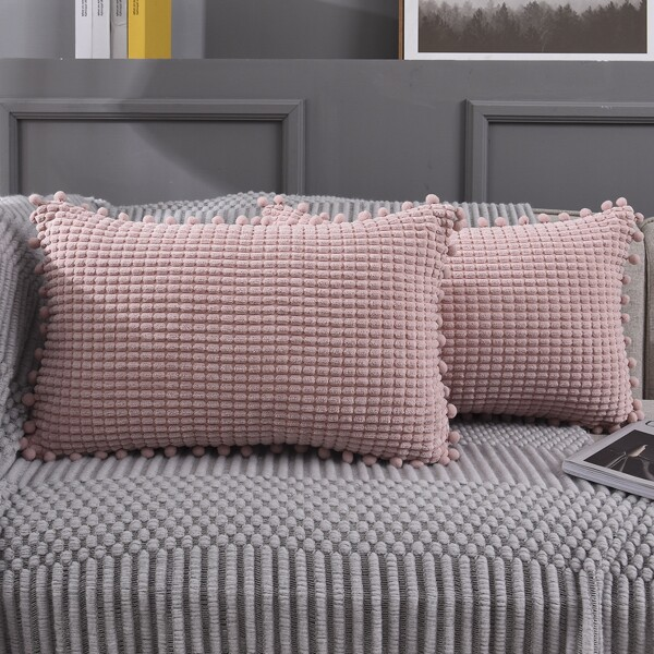1pc Pom Pom Lumbar Pillow Cover Without Filler, Pink
