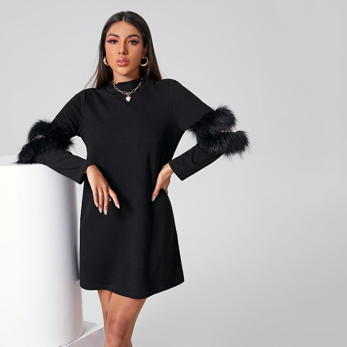 Платье с искусственным мехом