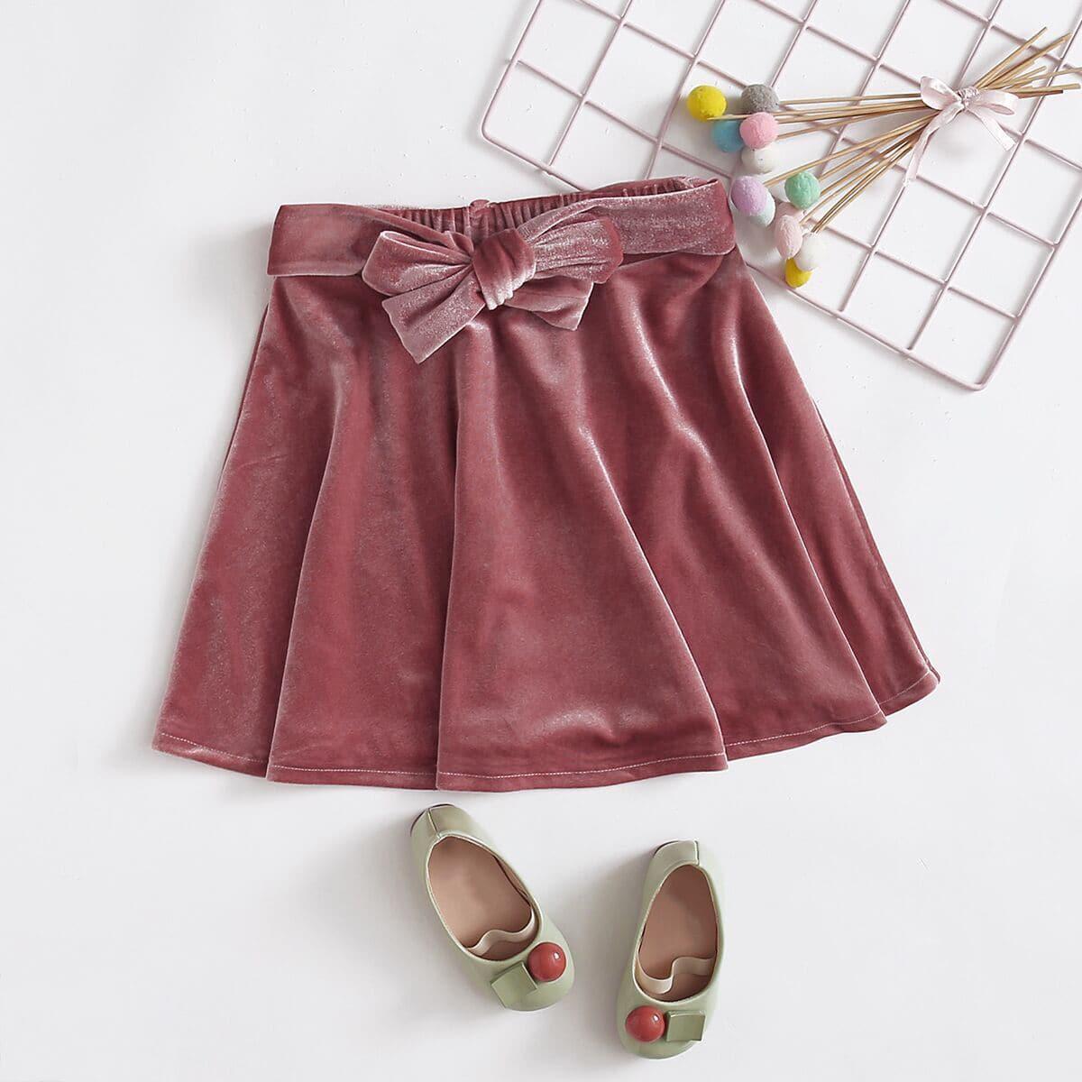 С поясом одноцветный повседневный юбки для девочек