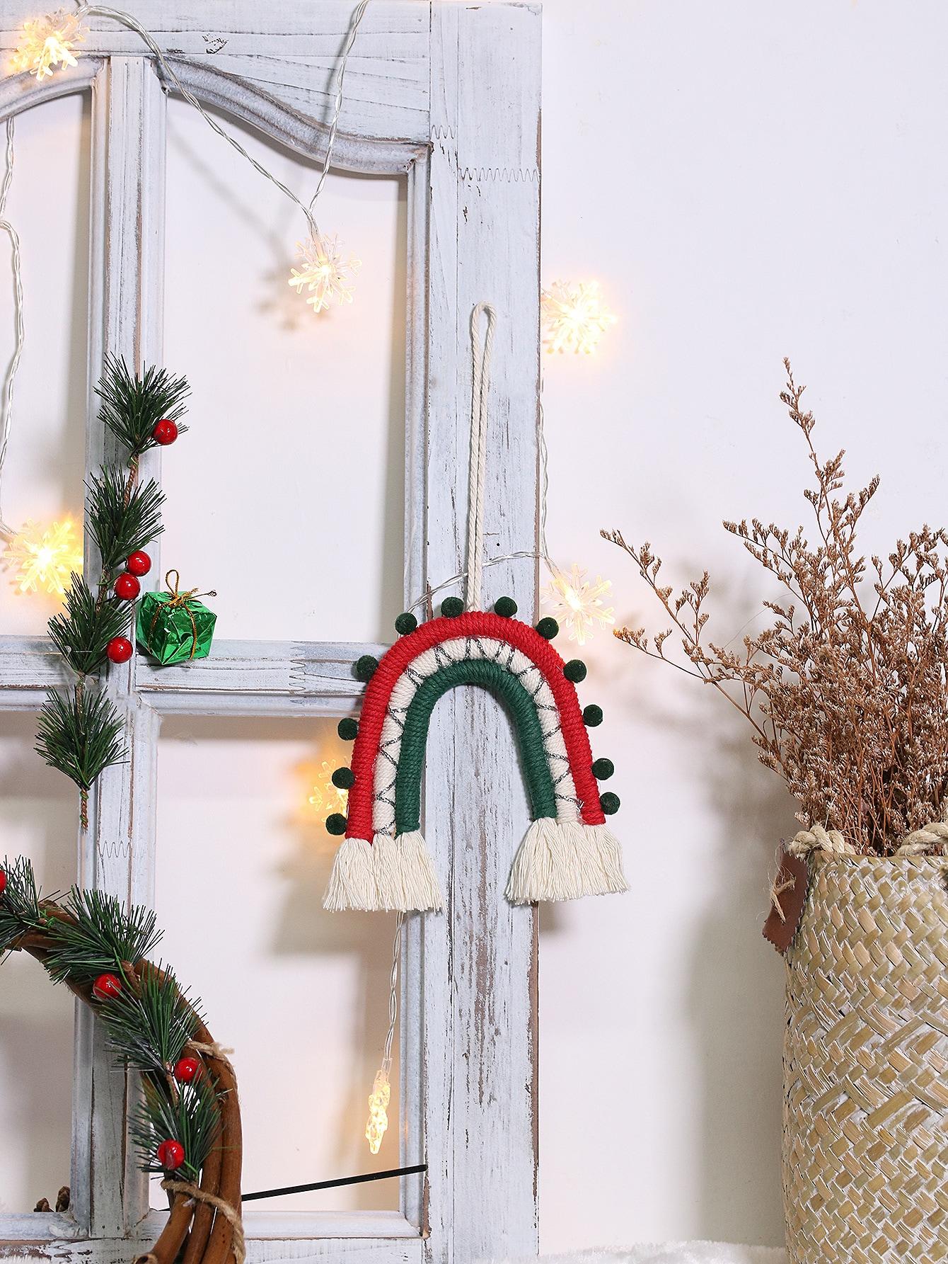 Christmas Braided Pom Pom Wall Hanging Romwe Usa