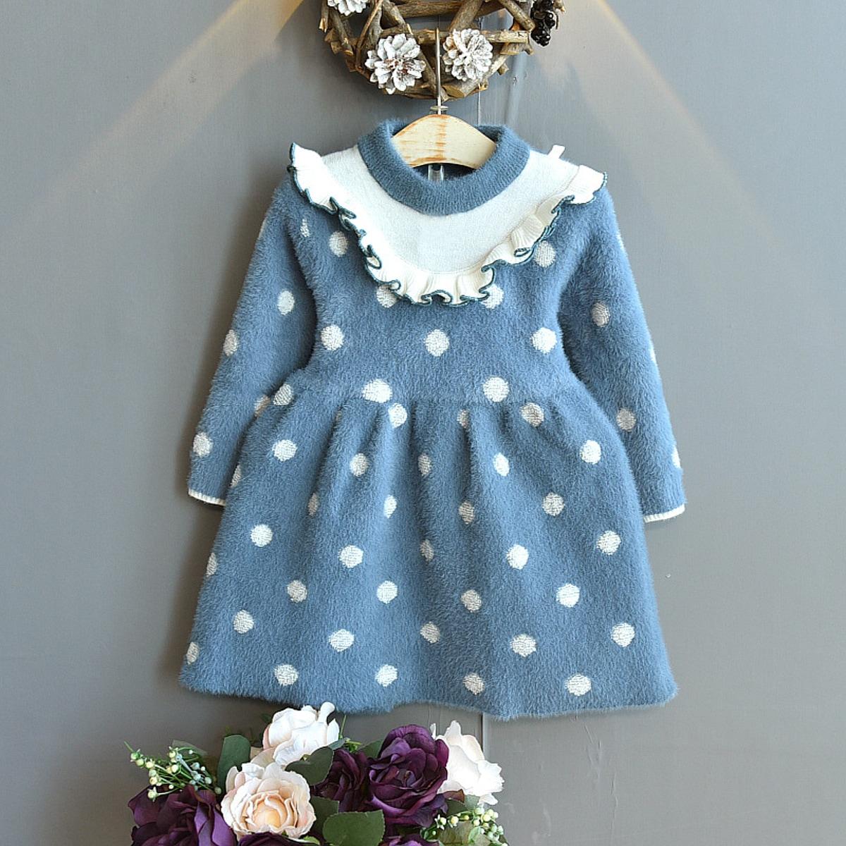 С оборками в горошек повседневный трикотажные платья для девочек