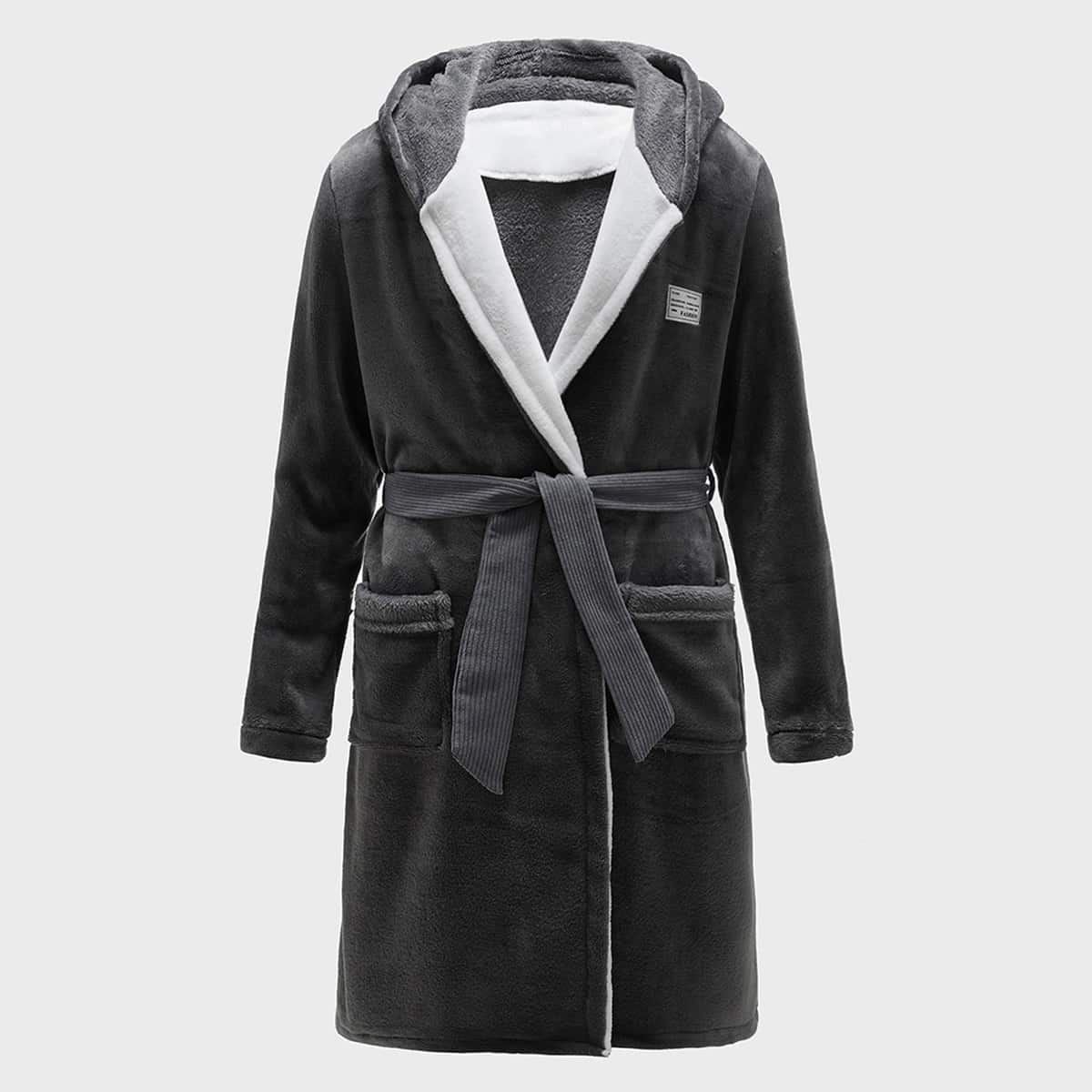 Men Letter Patched Flannel Belted Hooded Robe, SHEIN  - buy with discount