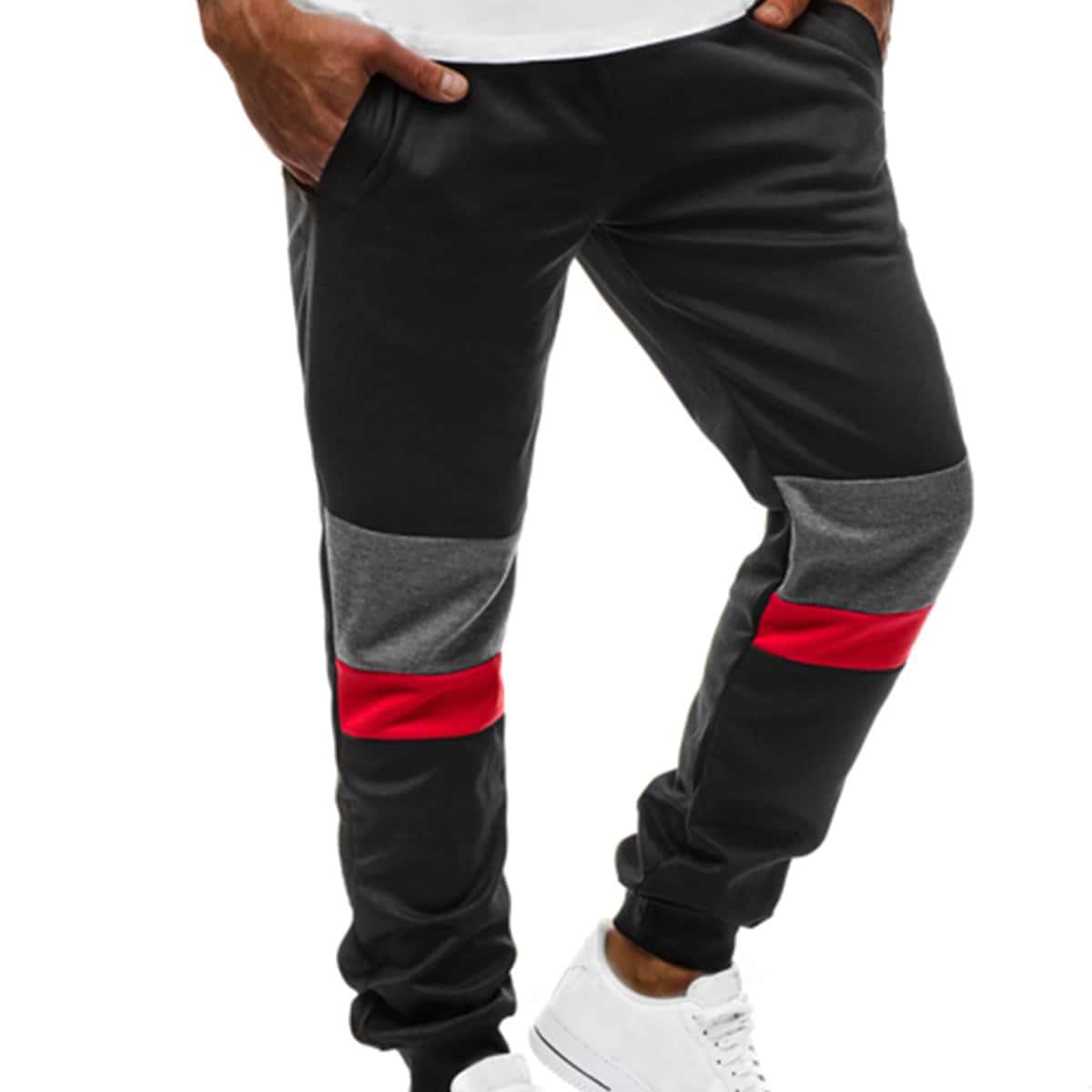 Карман контрастный повседневный мужские брюки