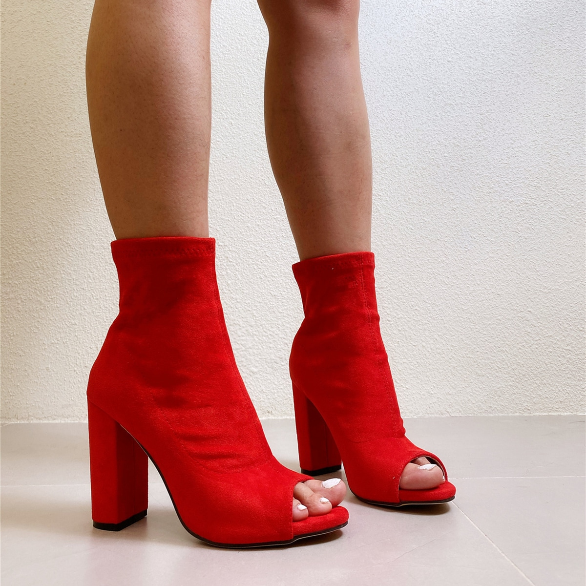 Peep Toe Chunky Heeled Suede Ankle Boots