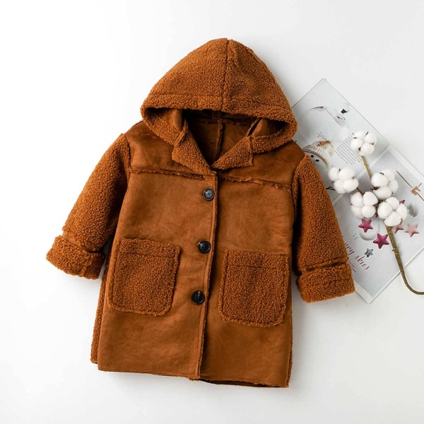 Girls Single Breasted Pocket Patched Hooded Teddy Coat, Rust brown