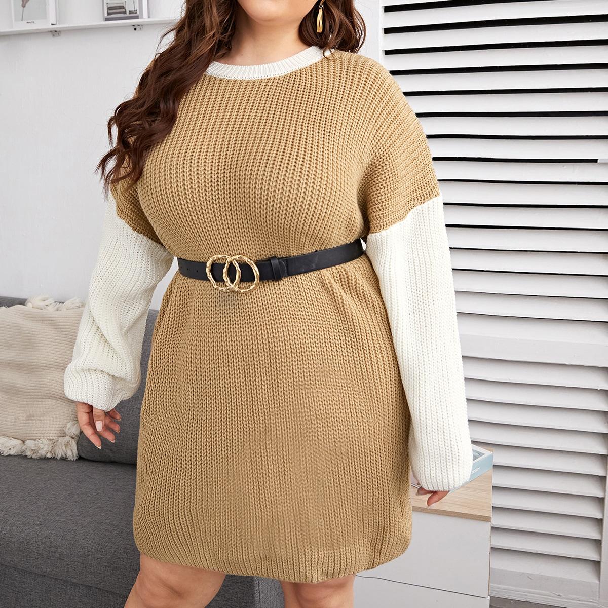 Контрастный цвет повседневный свитер-платье размер плюс