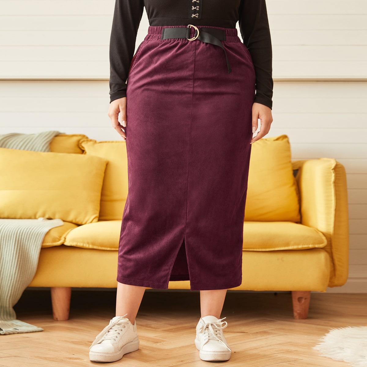 Вельветовая юбка размера плюс с разрезом и поясом