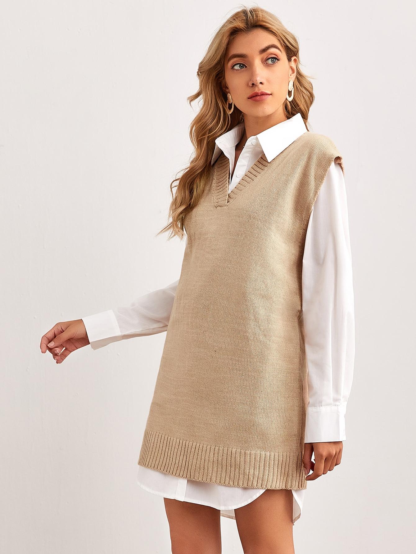 V Neck Sweater Vest Dress Without Blouse Without Belt thumbnail