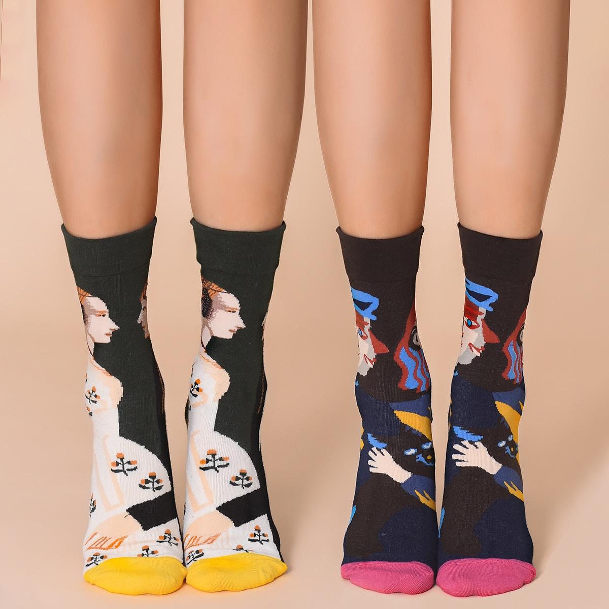 2 пары носки с графическим принтом