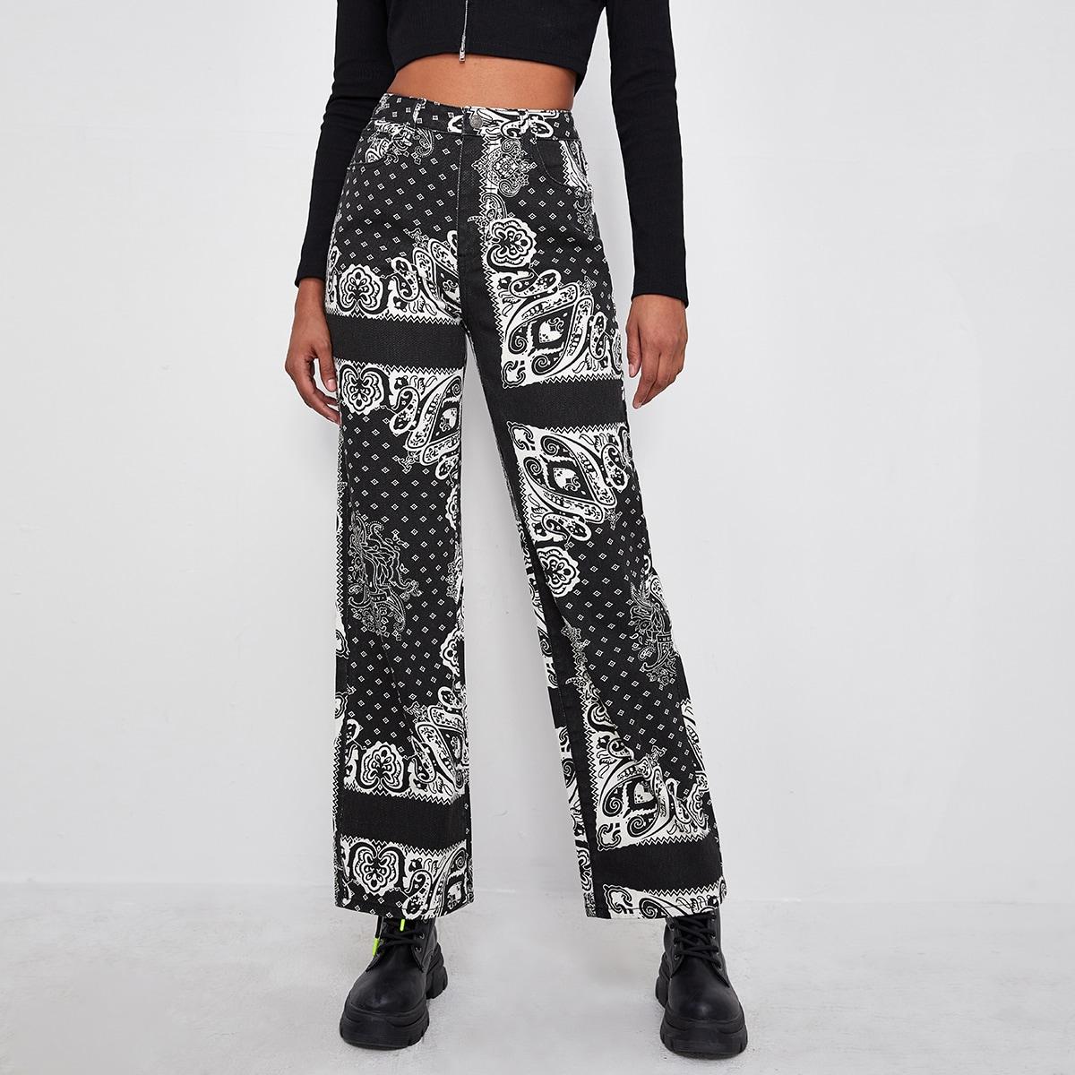 Прямые джинсы с узором и высокой талией