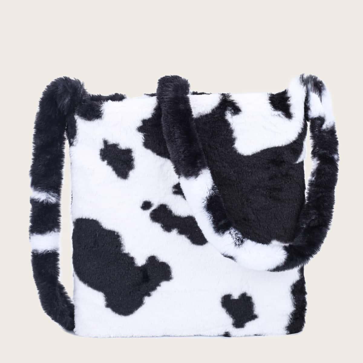 Сумка через плечо из искусственного меха с коровьим принтом