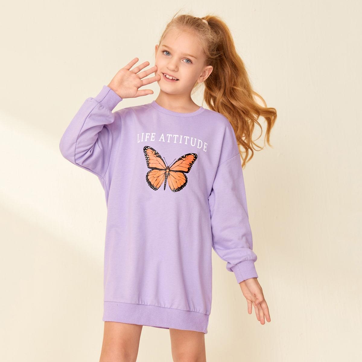 Свитшот-платье с текстовым принтом и бабочкой для девочек