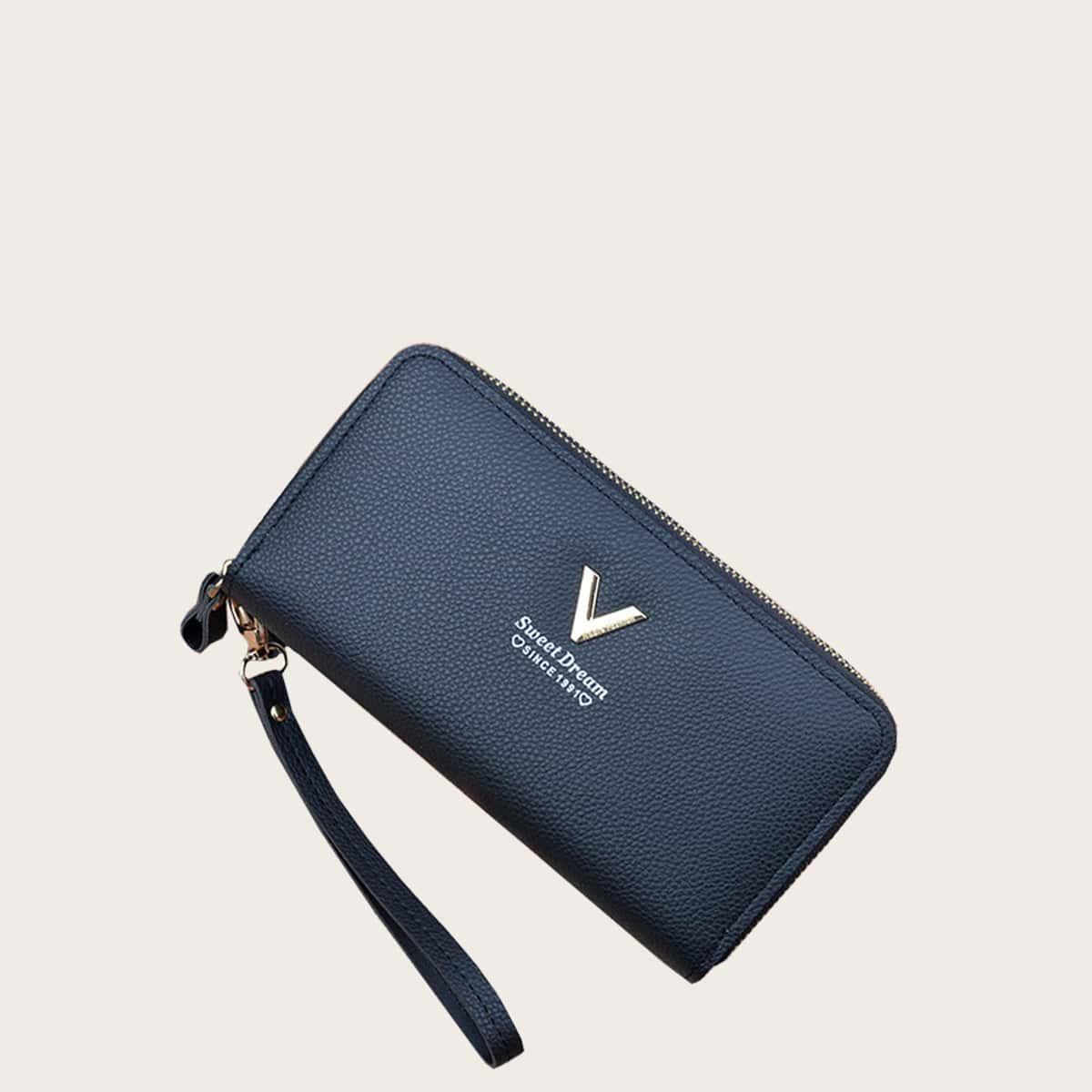 Длинный кошелек с металлическим V-образным декором и браслетом