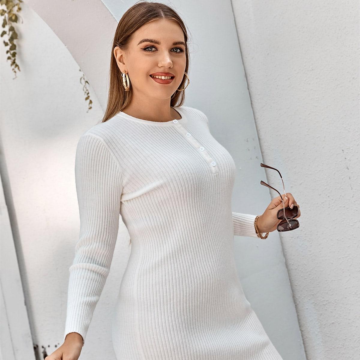 На пуговицах одноцветный повседневный свитер-платье размер плюс