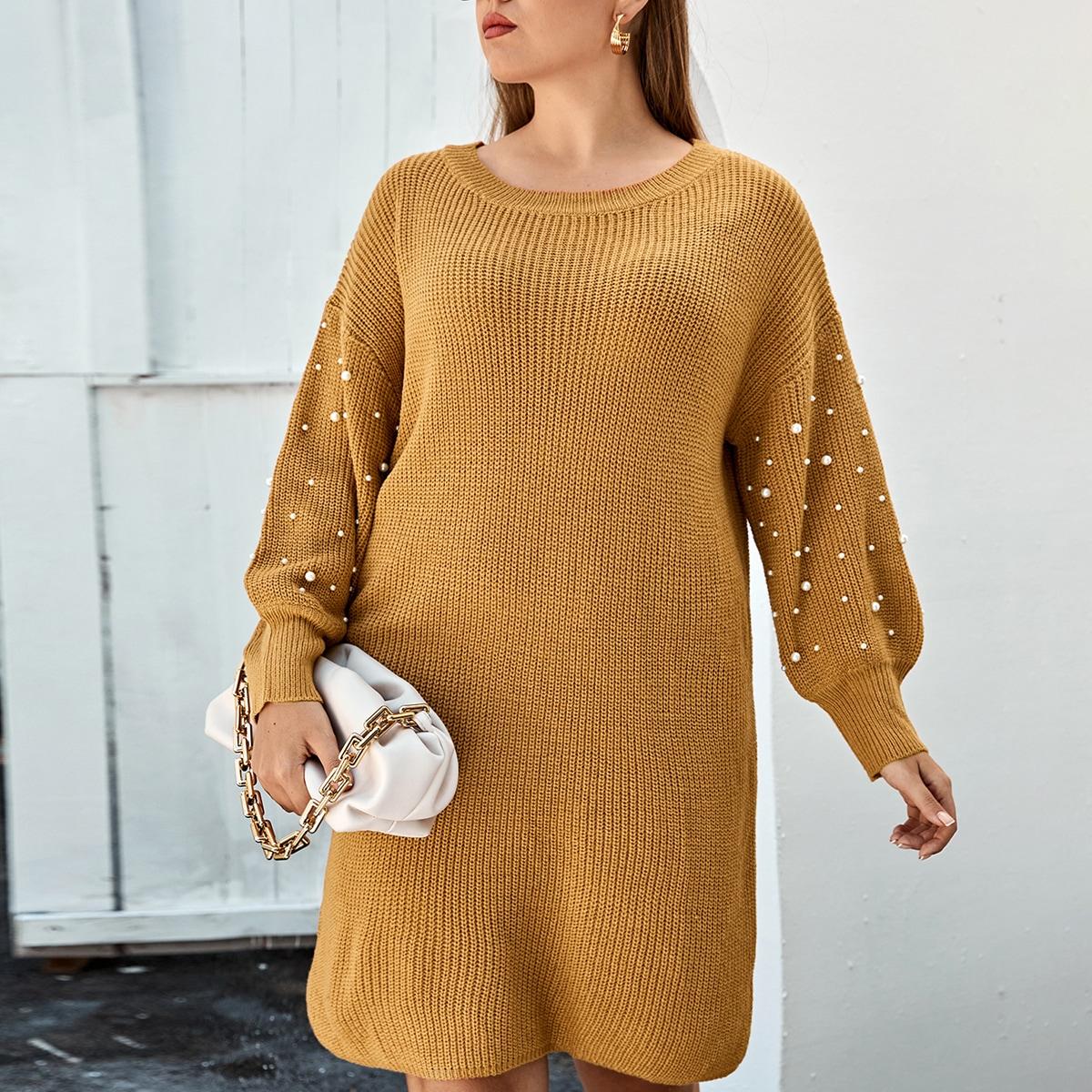С жемчугом одноцветный повседневный свитер-платье размер плюс