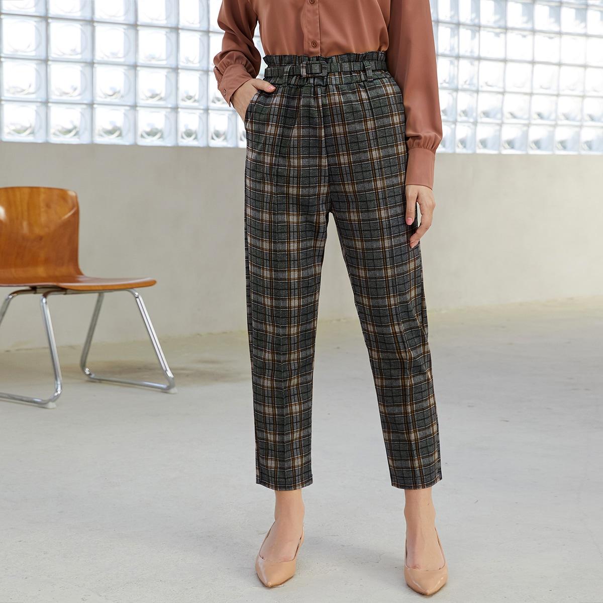Plaid Paper Bag Waist Belted Pants