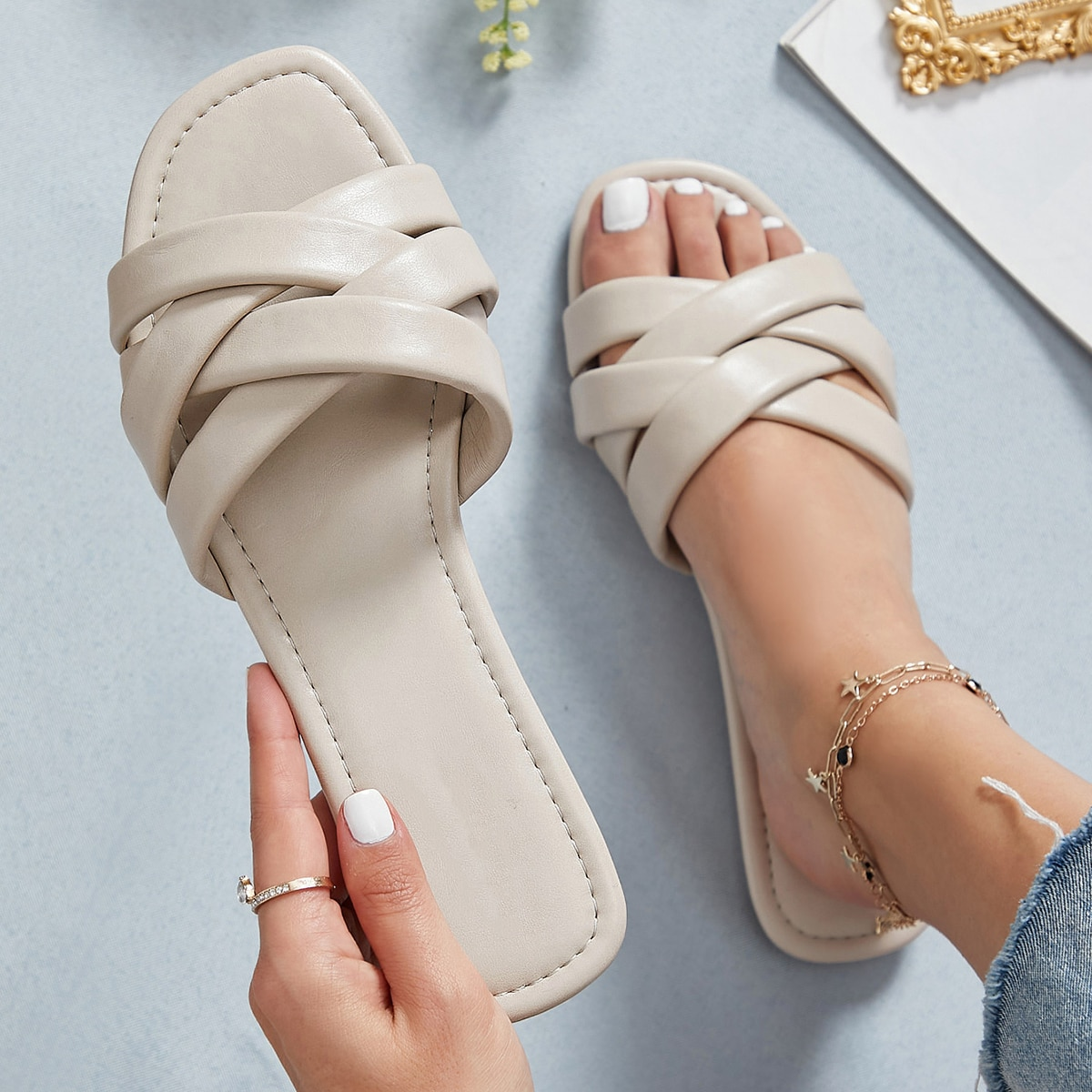 SHEIN / Faux Leather Crisscross Strap Sandals