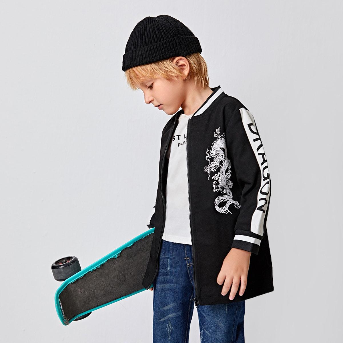 Куртка-бомбер с принтом китайского дракона для мальчиков