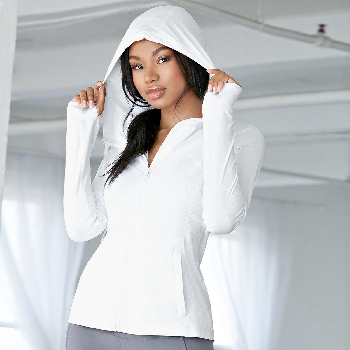 Куртка для йоги из спандекса с капюшоном и отверстием для большого пальца