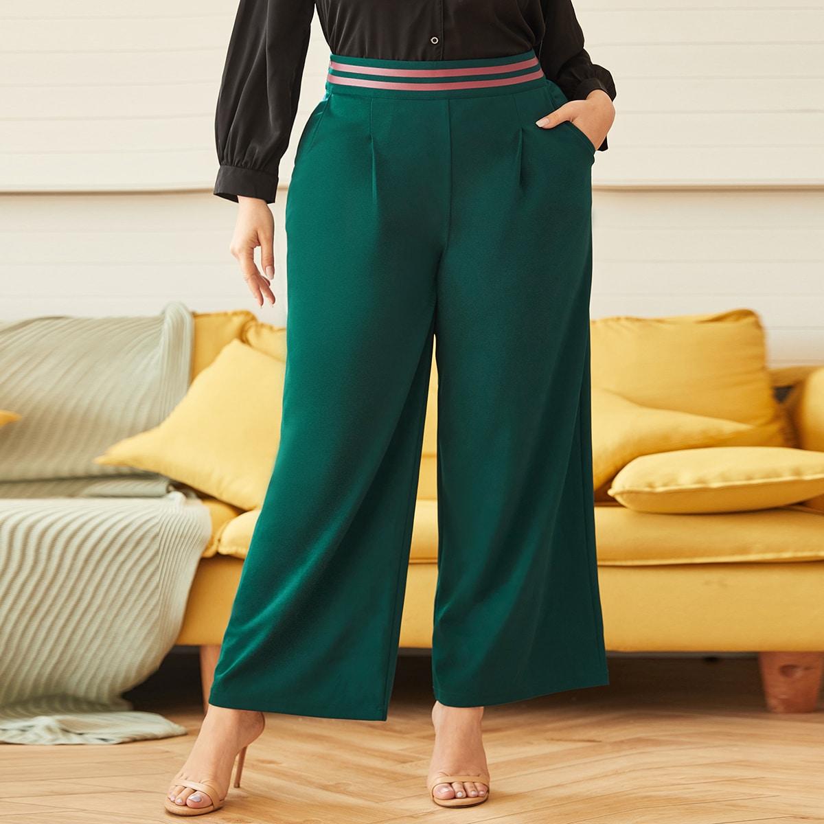 Карман полосатый повседневный брюки размер плюс