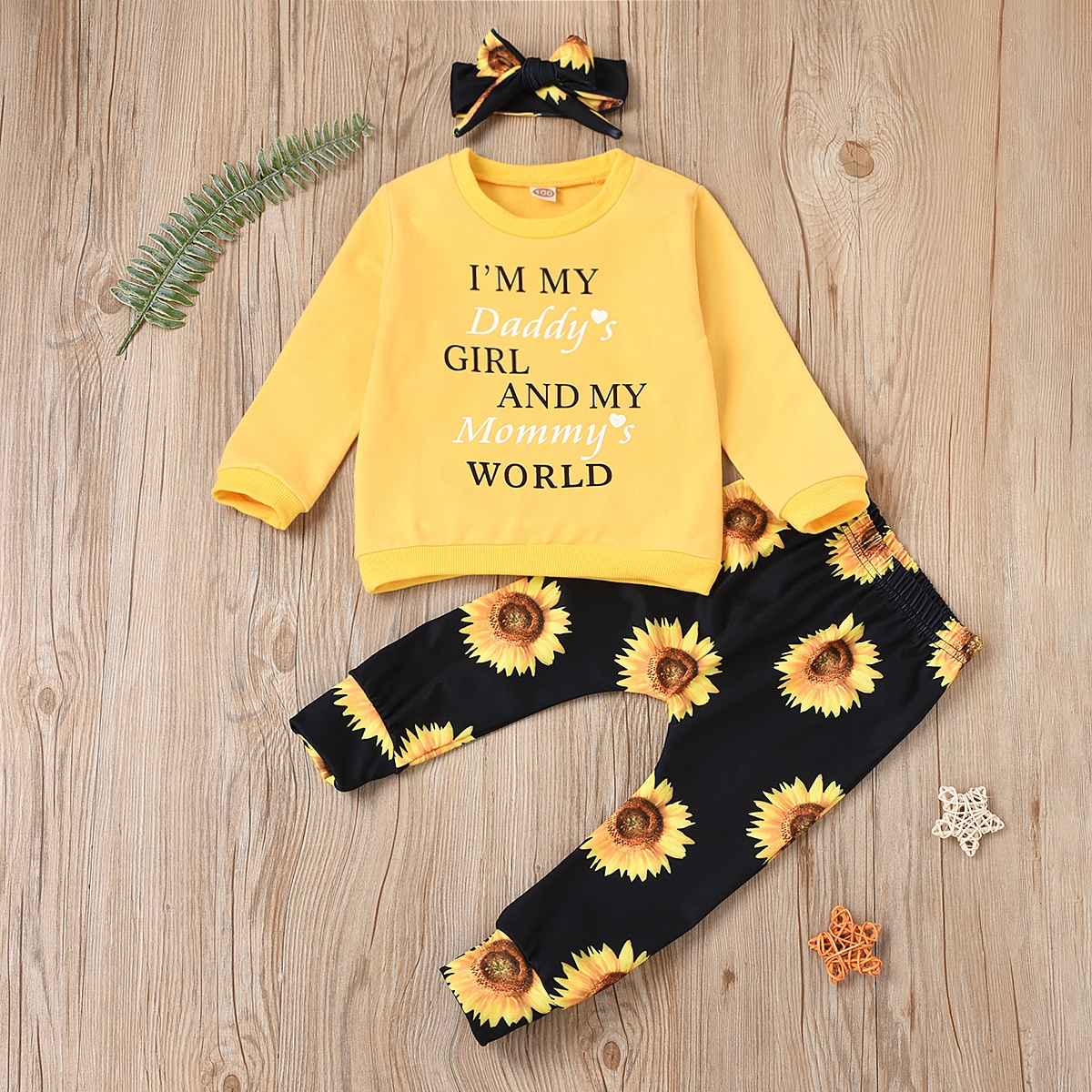 Свитшот с текстовым принтом, брюки и повязка на голову с принтом подсолнуха для девочек