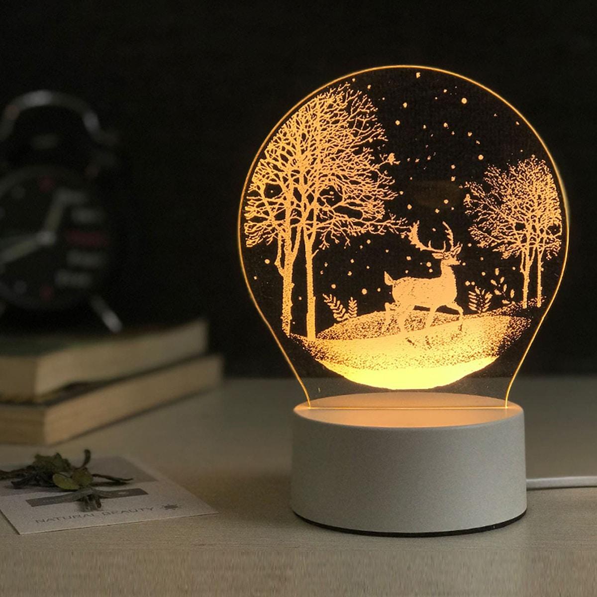 Ночный свет с узором оленя