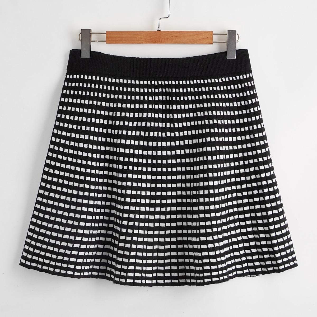 Трикотажная юбка размера плюс с геометрическим узором