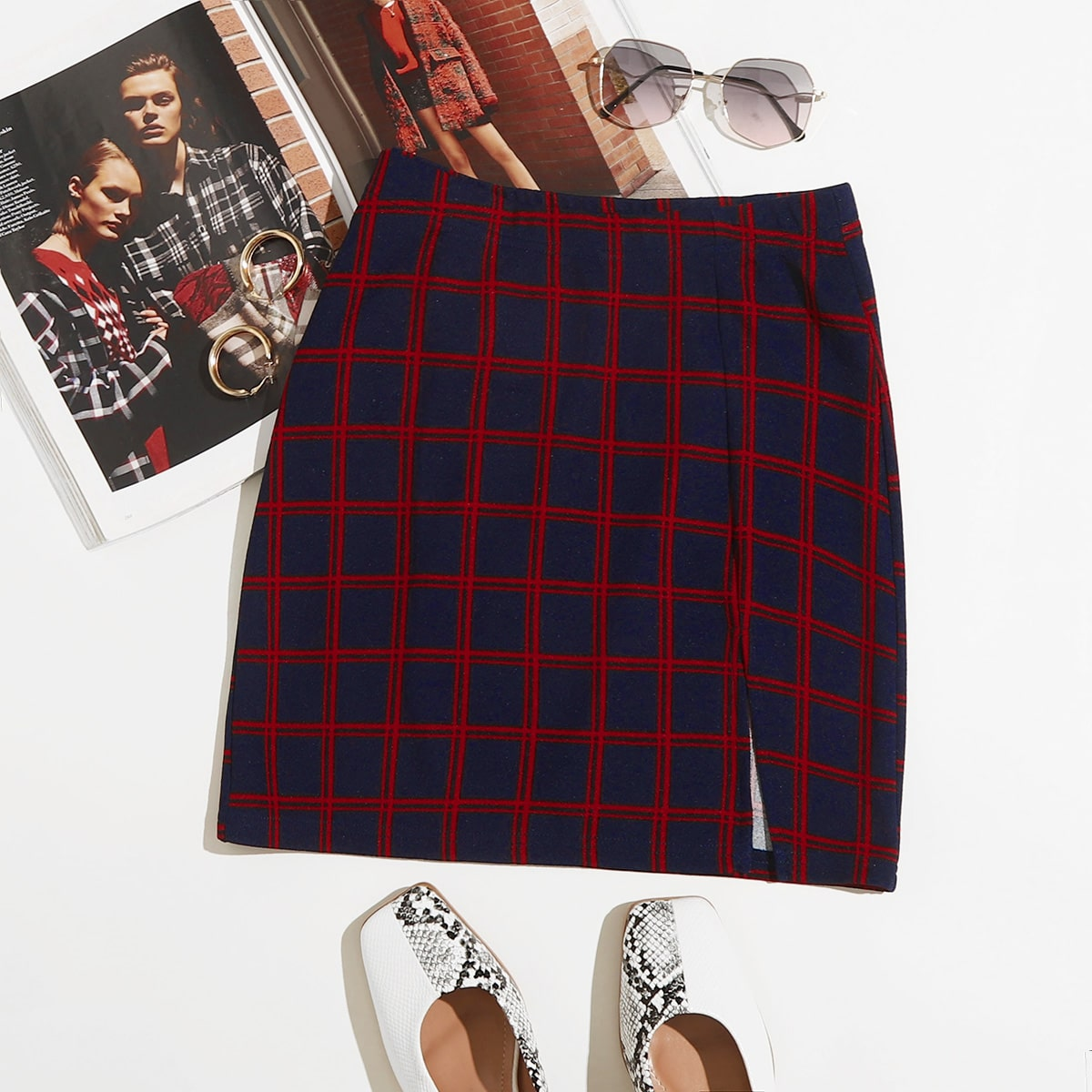 Plaid Split Hem Mini Skirt