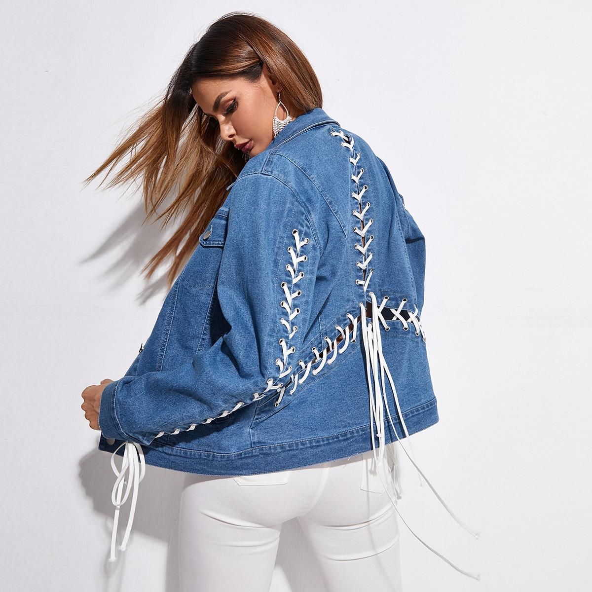 Джинсовая куртка со шнуровкой mid wash