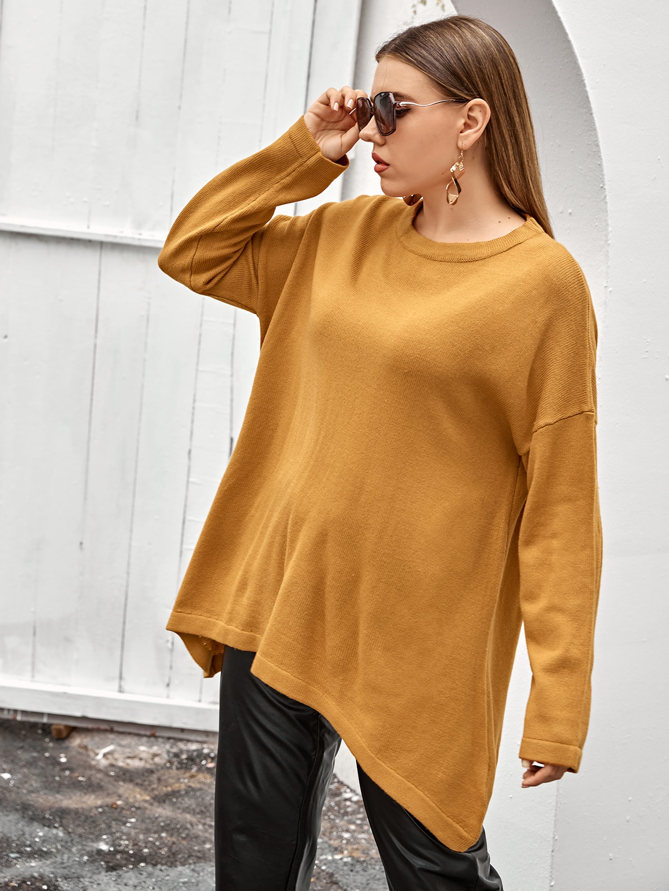 Plus Solid Drop Shoulder Sweater thumbnail