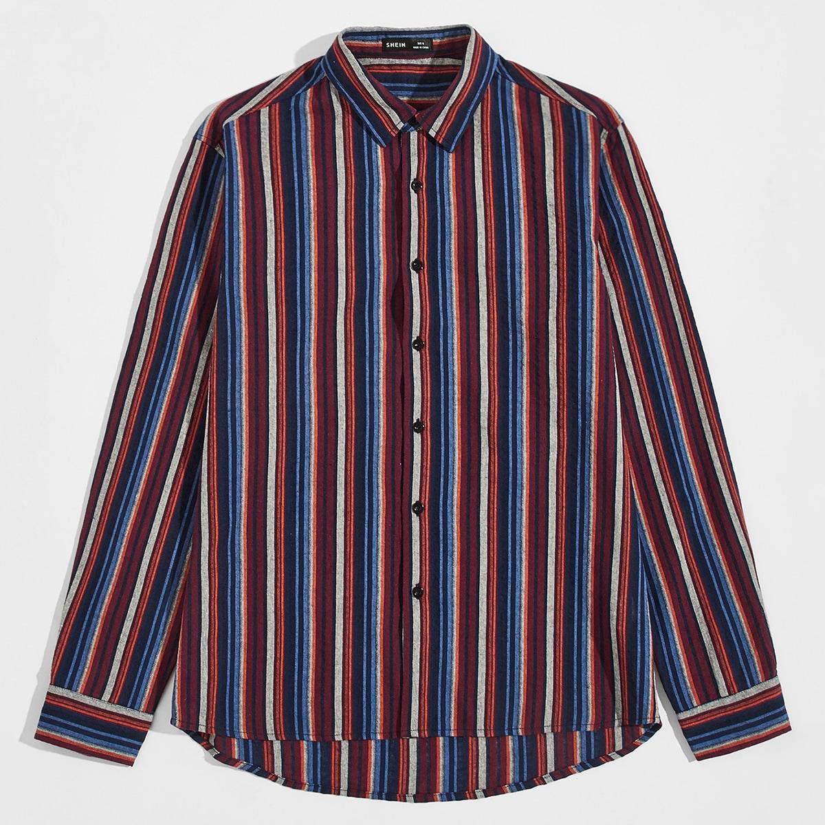 Пуговица полосатый отпуск мужские рубашки