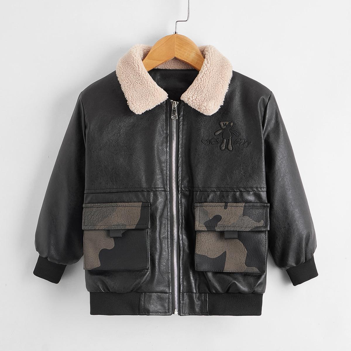 Куртка из искусственной кожи с мультипликационной вышивкой для мальчиков