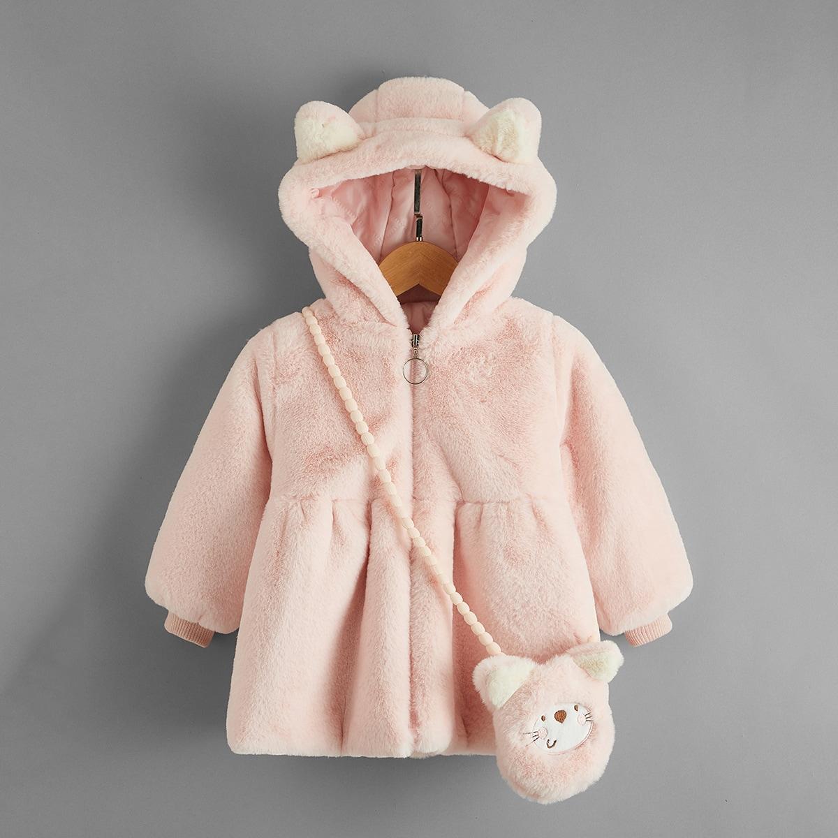 Фланелевое пальто с капюшоном и сумкой для девочек