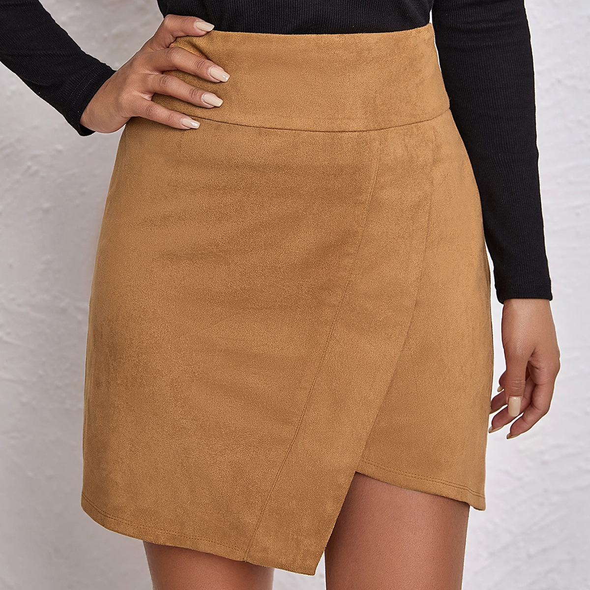 Wide Waistband Wrap Front Asymmetrical Suede Skirt
