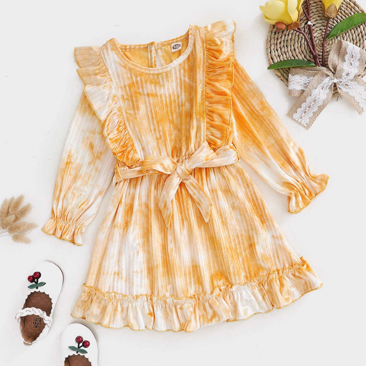 Бархатное платье с поясом и принтом тай дай для девочек