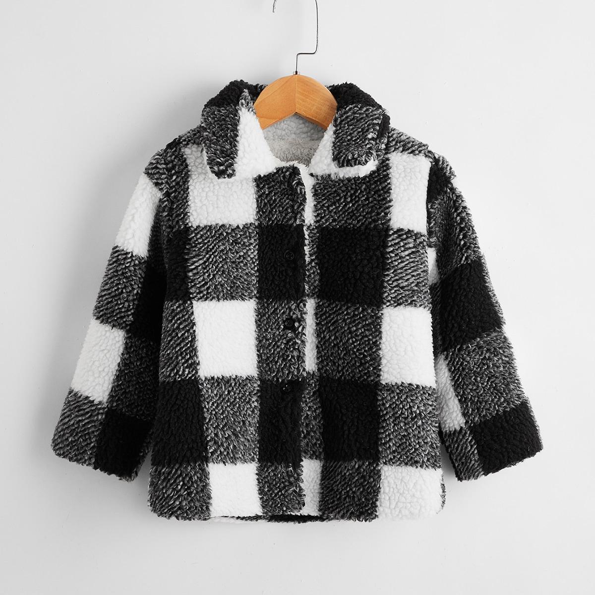 Плюшевое пальто в клетку для девочек