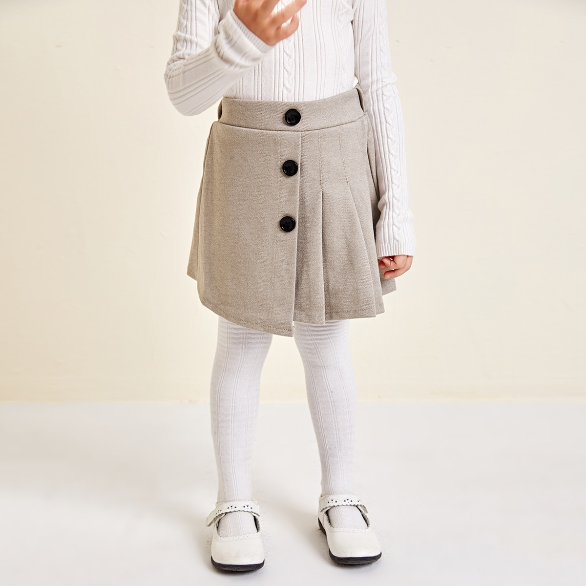 На пуговицах одноцветный институтский юбки для девочек