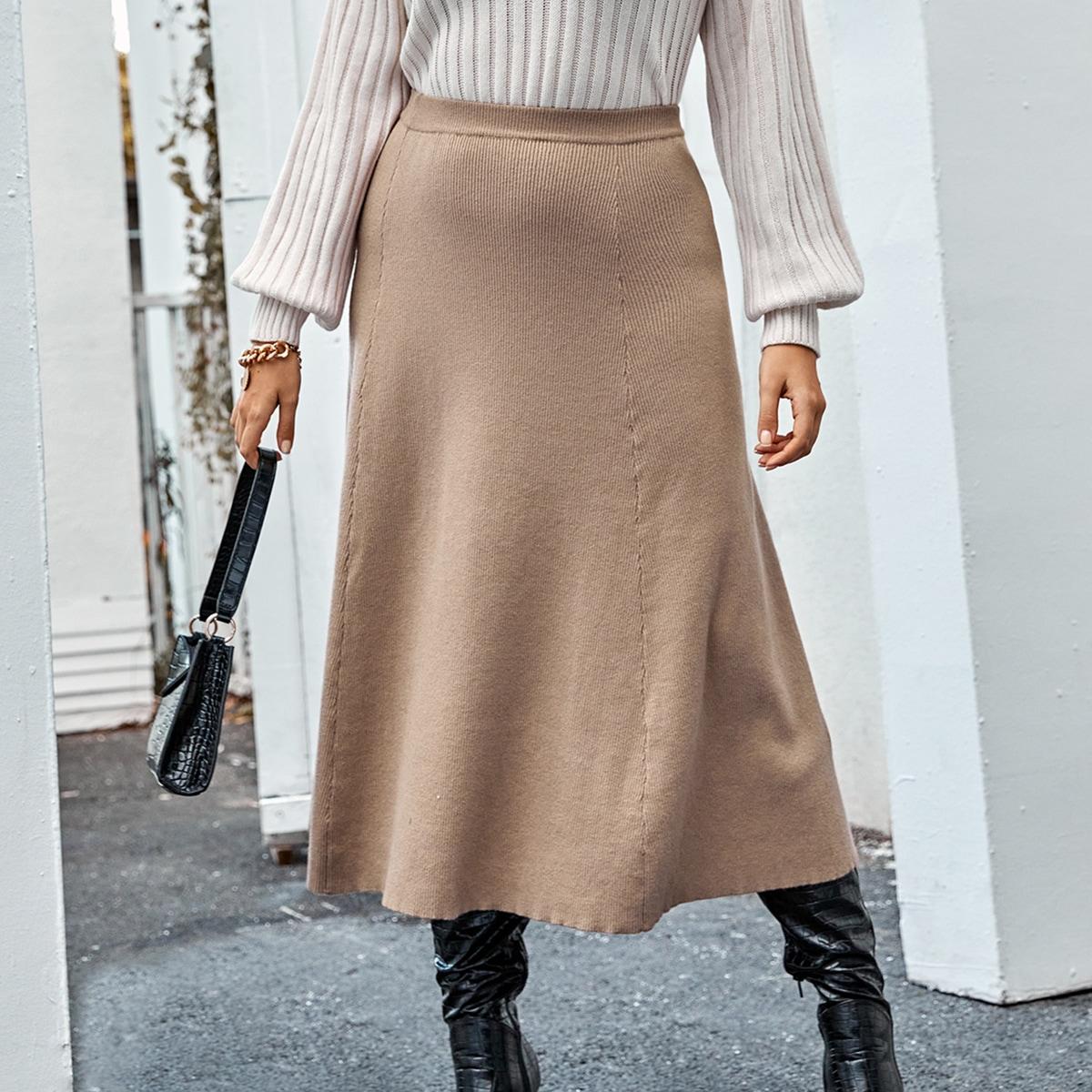 Однотонная трикотажная юбка размера плюс с высокой талией