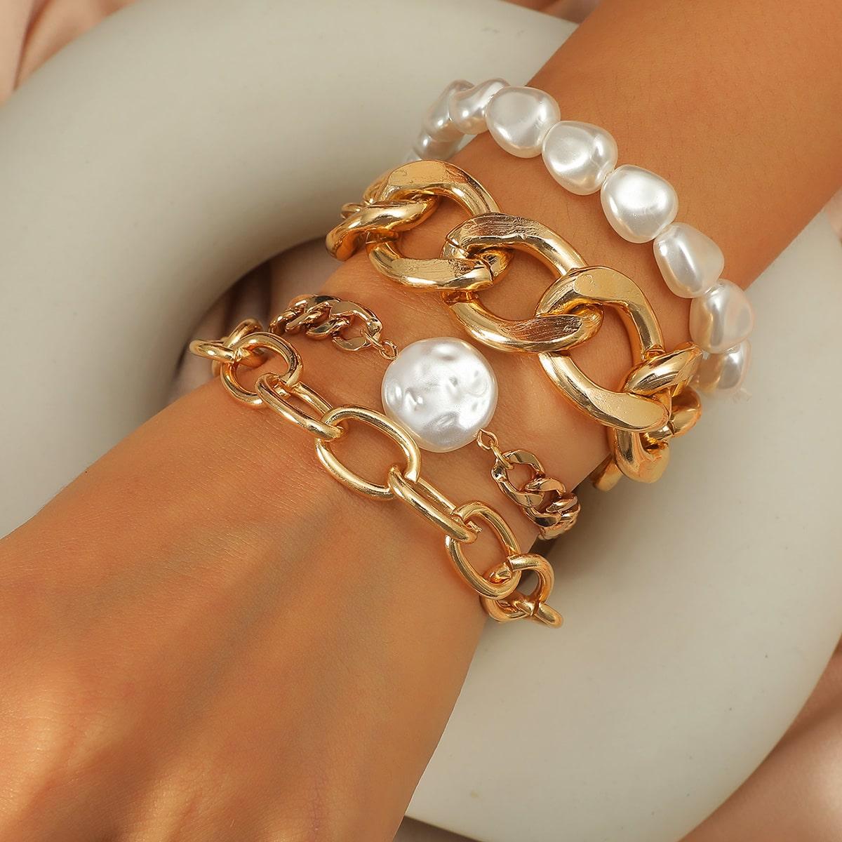 4 Stücke Armband mit Kunstperlen Dekor