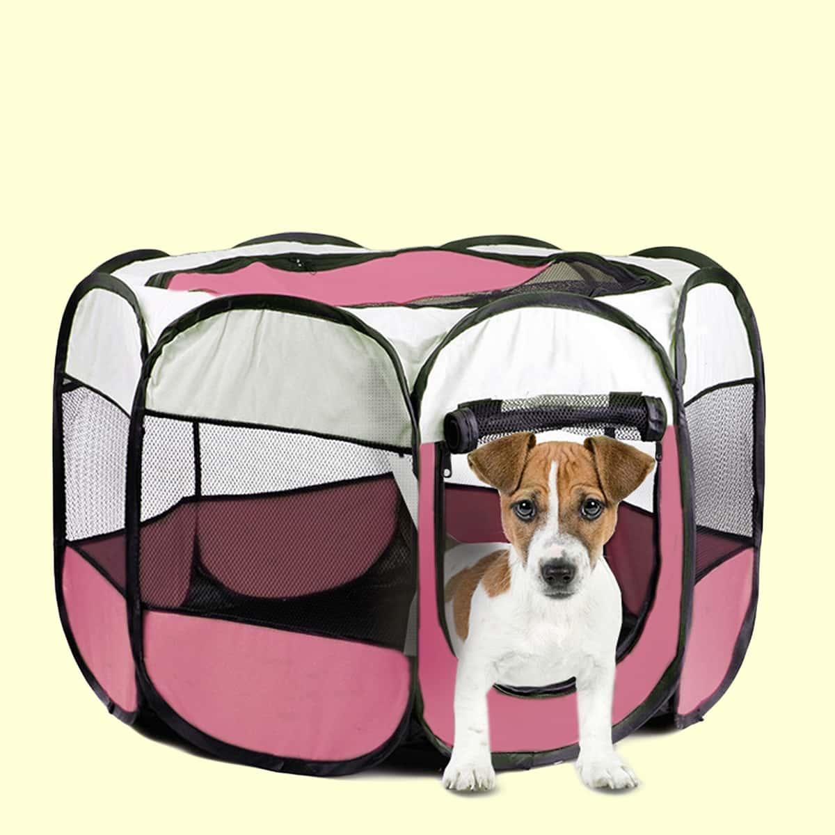 Восьмиугольная палатка для собак с контрастной отделкой
