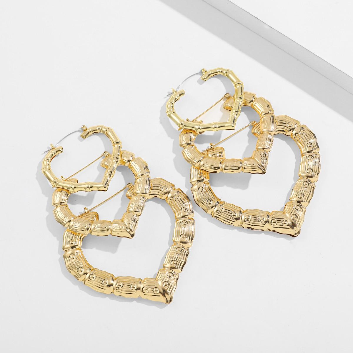 Серьги-кольца в форме сердца 3 пары