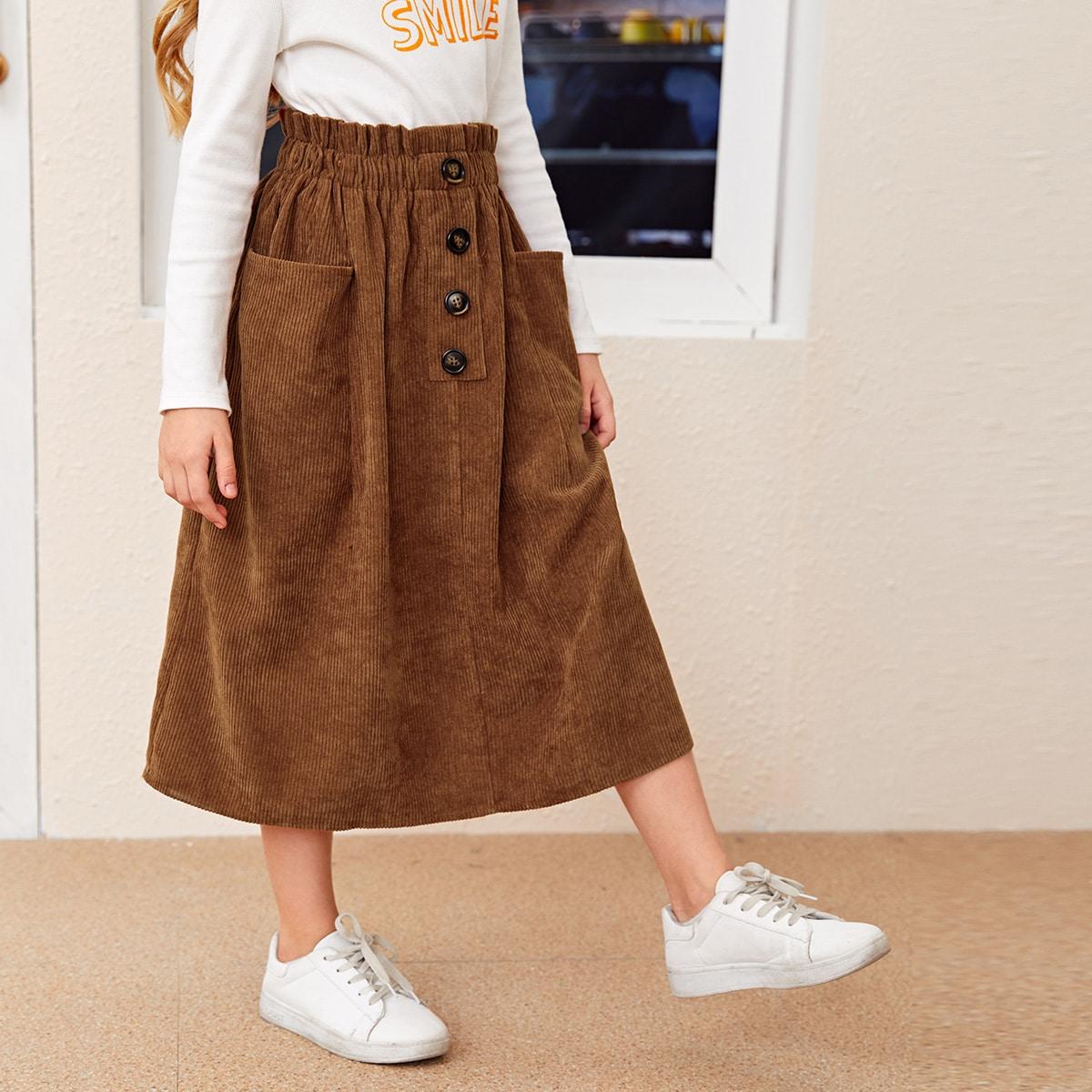 С карманами одноцветный повседневный юбки для девочек