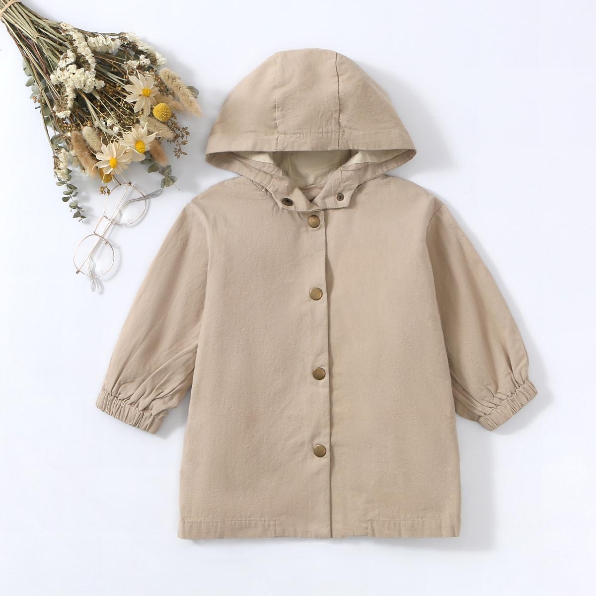Со сборками одноцветный повседневный пальто для маленьких девочек