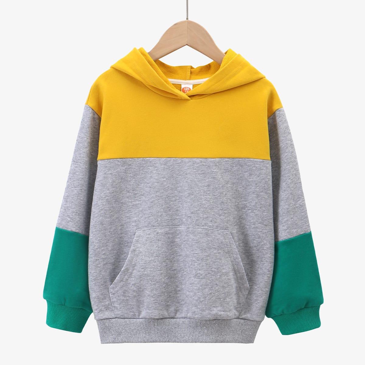 С карманами контрастный цвет повседневный свитшоты для мальчиков