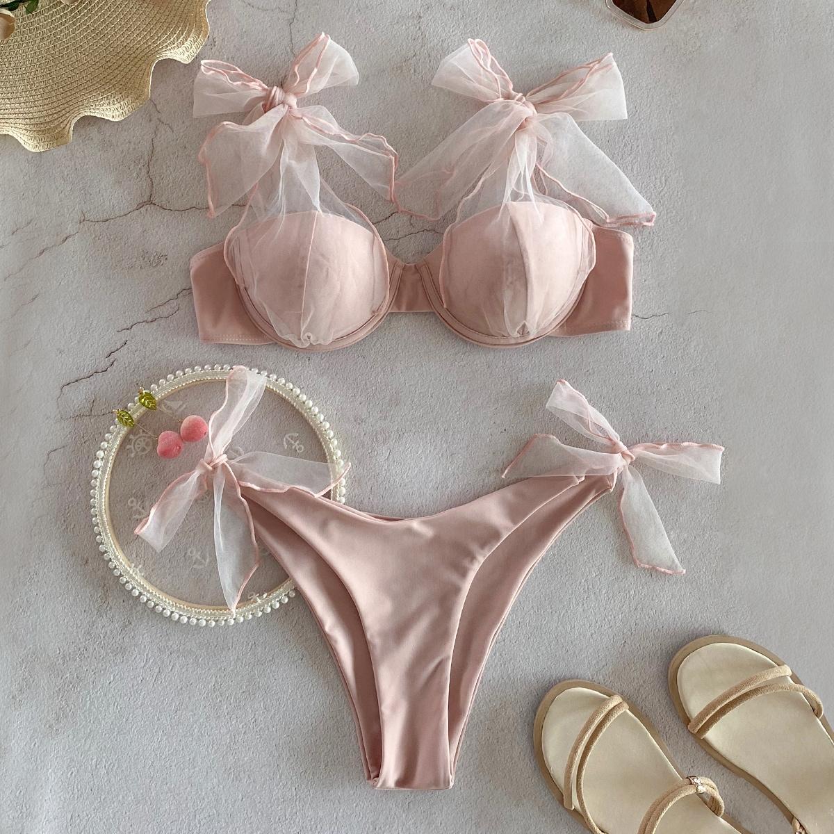 Self Tie Underwire Bikini Swimsuit