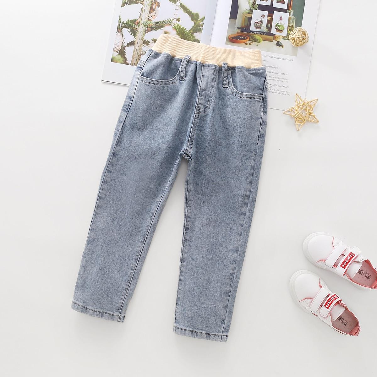 Контрастный повседневный джинсы для девочек