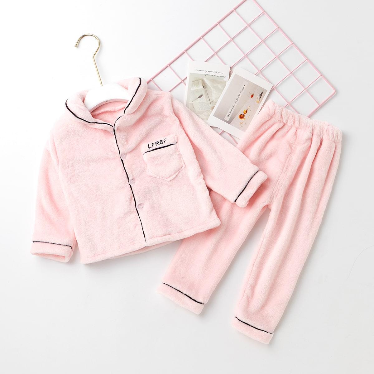 Плюшевые брюки и куртка с вышивкой и карманом для девочек