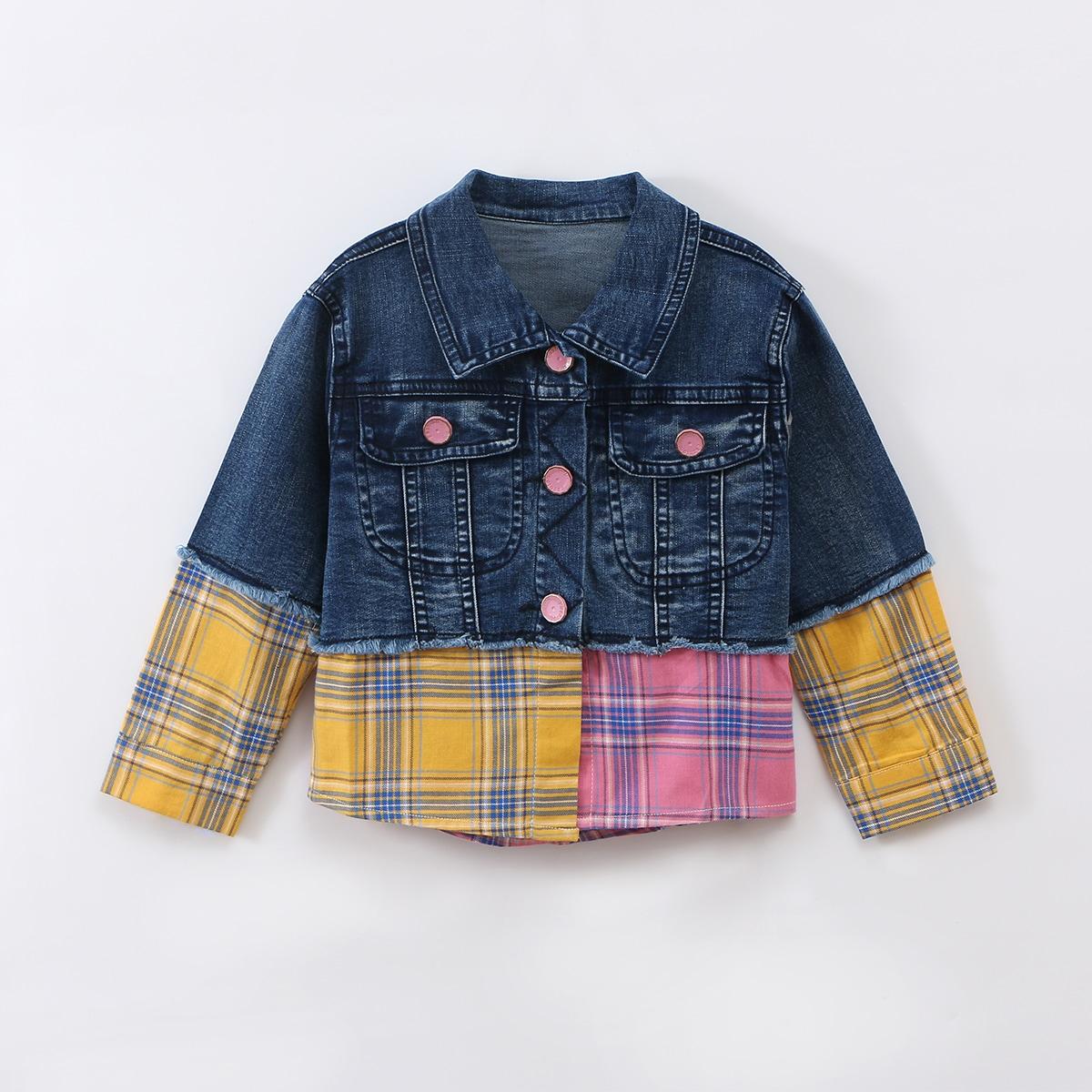 Джинсовая куртка с клапаном и карманами в клетку для маленьких девочек